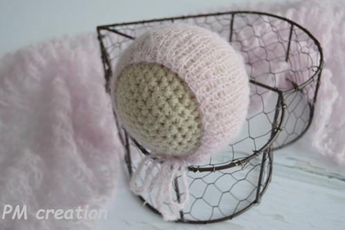 Čepička na focení miminek-mohérová růžová