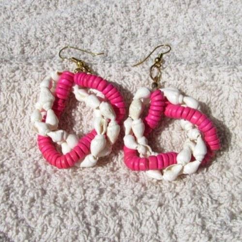 Naušnice růžovobílé, mušličkové