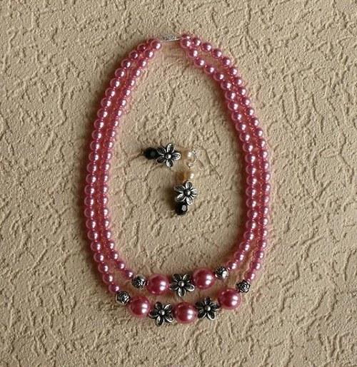 květinový náhrdelník - růžový
