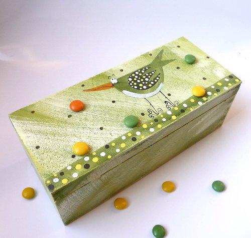 cestovní krabice na ponožky - zelená s ptáčkem