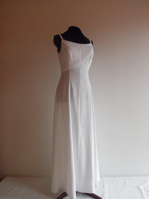 Jednoduché svatební šaty bílé 61-vel.42-44