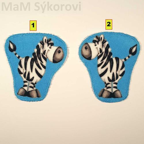 Nažehlovací záplaty zebra na modrém