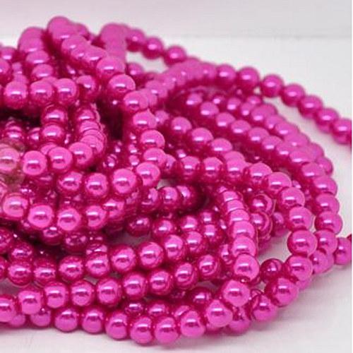 perly skleněné / růžová - tmavě / 6mm/ 20ks