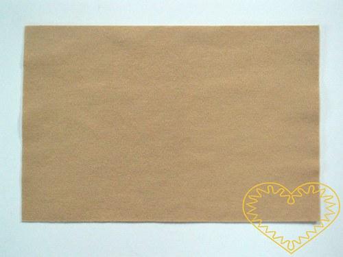 Tmavě tělová plsť - dekorační filc 30 x 20 cm