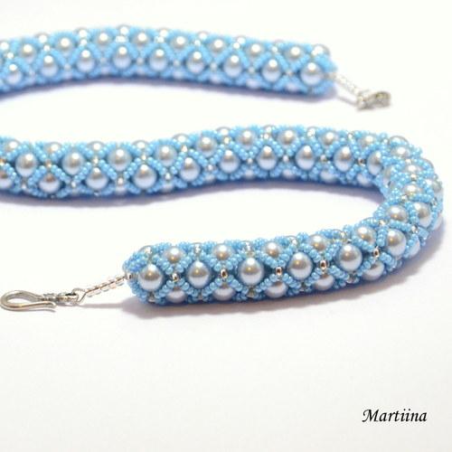Luxusní perlová sada - šedo-modrá