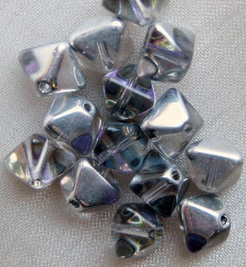 pyramidky (sluníčka) čiré s pokovem stříbro