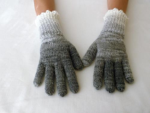 Rukavičky prstové bílo-šedé