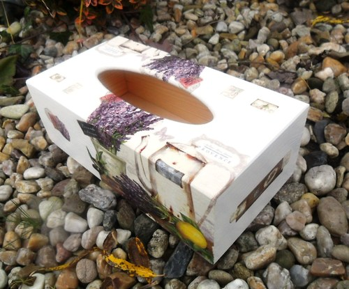 Krabička na kapesníky levandule a konev