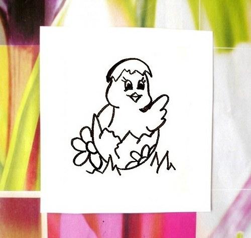 Kuřátko s kytičkou... Omyvatelné razítko.