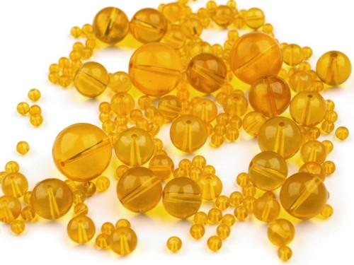 Korálky sklo mix 4-18mm - žluté (95gr)