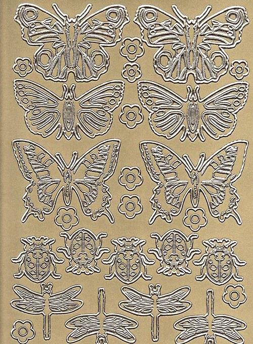 Samolepící kontury motýli, berušky - zlatá
