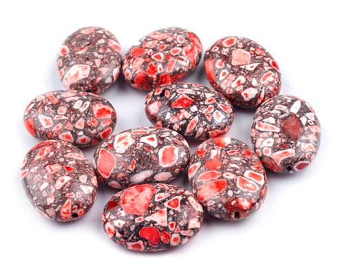 korálky marble červené 18 x 14mm, 2ks
