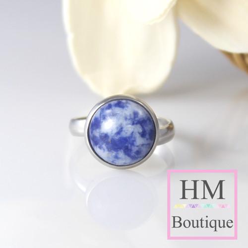 Ocelový prsten s přírodním kamenem - modrý Jaspis