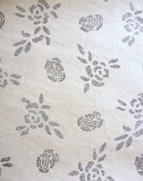 Ruční bavlněný papír A4 - smetana/glitter
