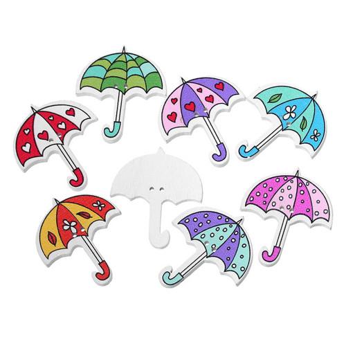 Knoflíky - dřevo - deštníky