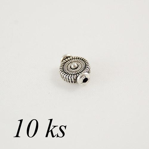 Korálek kruh s přídavkem - 10ks, stříbrná barva