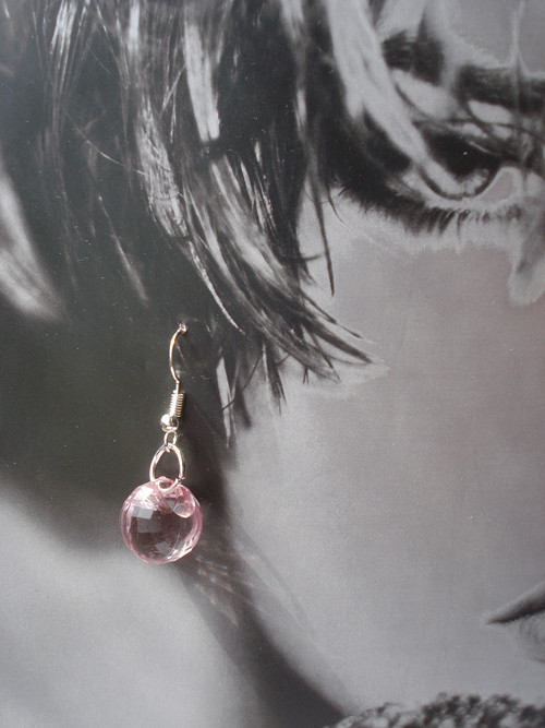 Náušničky - růžová v kvapke rosy