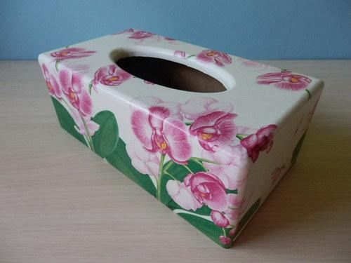 Krabička na kapesníky Orchideje