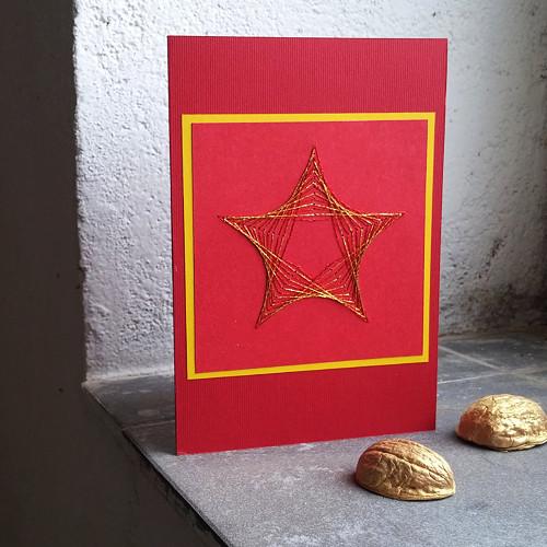 vyšívané přání Hvězda VI - červenozlatá
