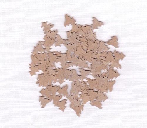 Vánoční stromečky - hnědé výseky (100 ks)