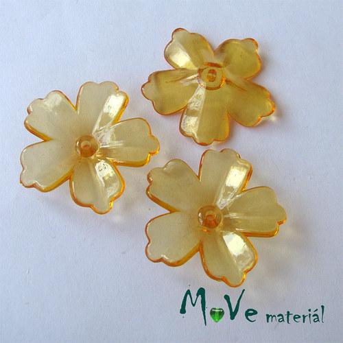 Akrylový transparentní květ 28mm, 4ks, oranžový
