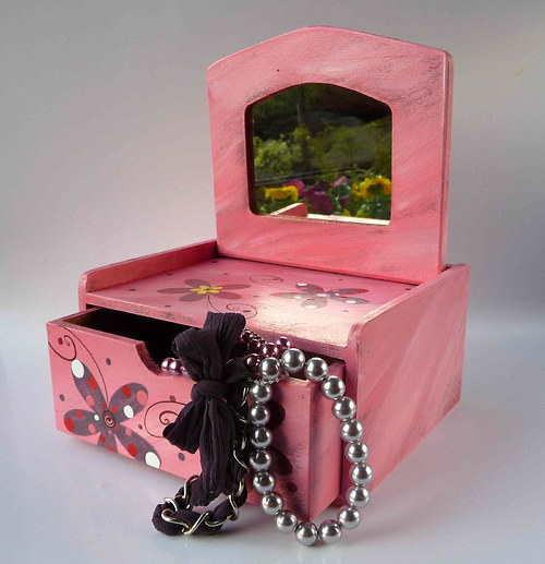 Šperkovnice se zrcadlem - růžová s kytkami
