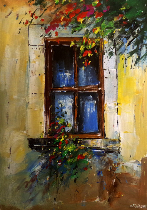 Květinové okno - originální akryl