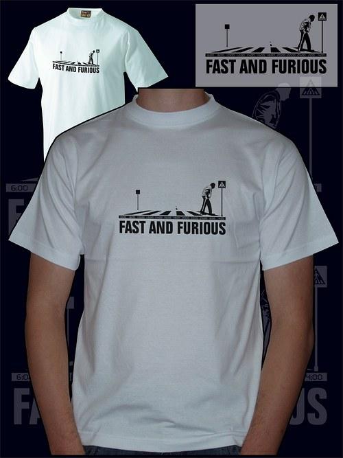 Pánské bílé tričko fast and furious