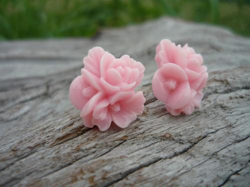 Náušnice Trojité Růžičky růžové