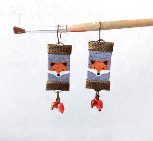Textilní náušnice Malé lištičky