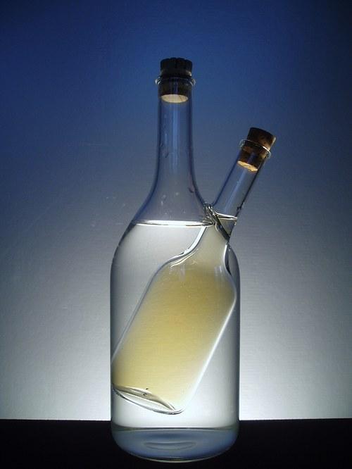 olej a ocet - láhev v lahvi