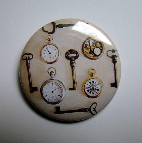 KLÍČE a ČAS - placka - button - 44 mm