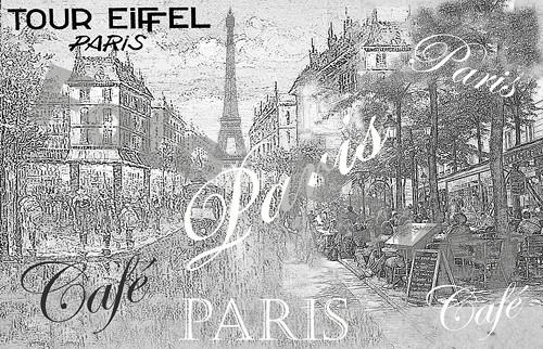 Vintage motiv -  Paříž, Eiffelovka 9