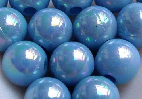 Plastové kuličky duhové 6 mm - sv. modrá / 10 ks