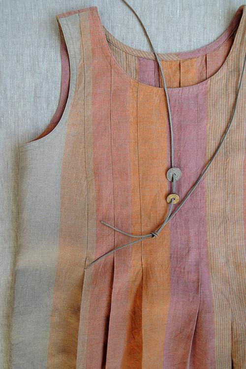 LINN - šaty len - oranžová / růžová / režná
