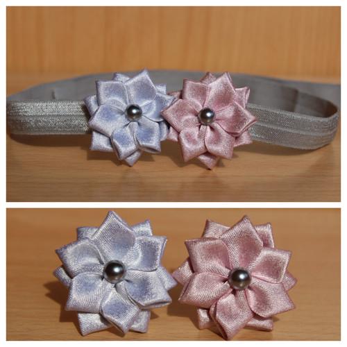 Čelenka pruženka šedá - stříbrný a růžový květ