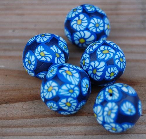 Modrobílé kopretiny - 1ks