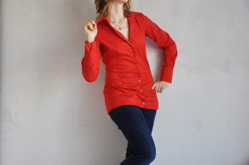 Rudá košile s mini minisukní