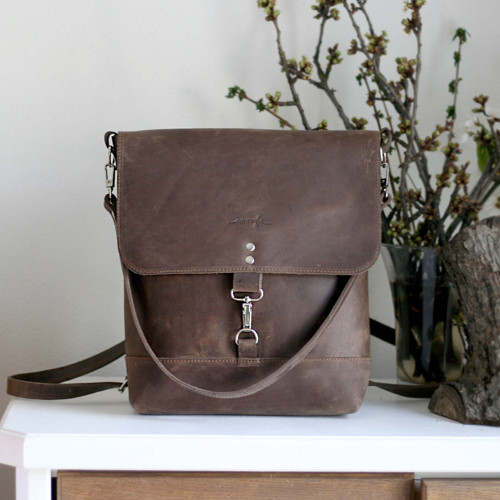 Kožený batoh Lara (crazy tmavohnedý)