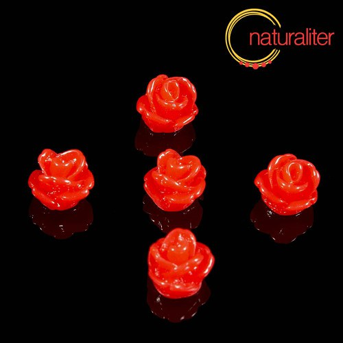 Růžička - kabošon z pryskyřice 7mm, červená, 10ks