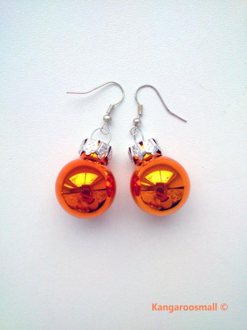Vánoční baňky : náušnice - oranžové lesklé