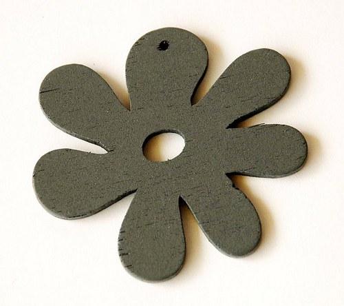 dřevěné kytičky- šedé