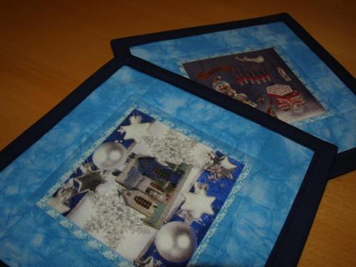 Vánoční prostírky pod hrnečky- v modrém I.