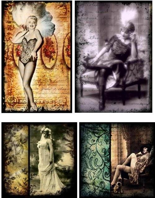 Vintage nažehlovací obrázky - Womancollage