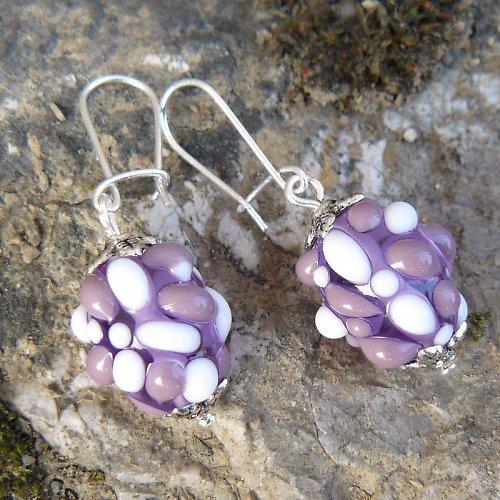 Náušnice - světle fialové mozaikové olivy