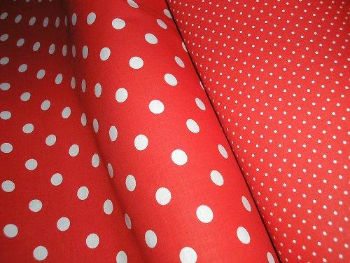 látka - metráž - červená s bílým puntíkem