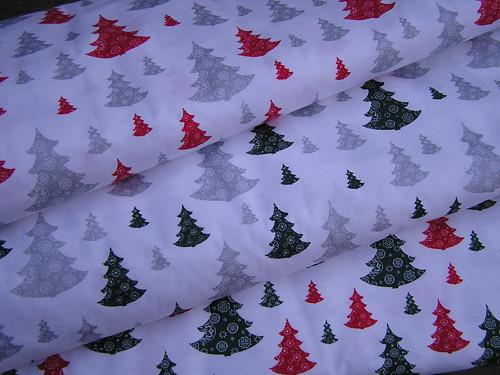 metráž,vánoční stromečky s vločkami