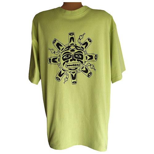 Limetkové pánské triko s černým motivem