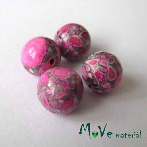 Korálky Marble růžové 10mm 4ks