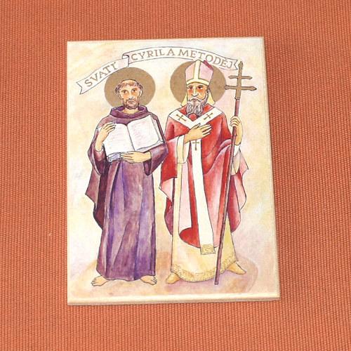 Obrázek na dřevě 7x10cm - sv. Cyril a Metoděj